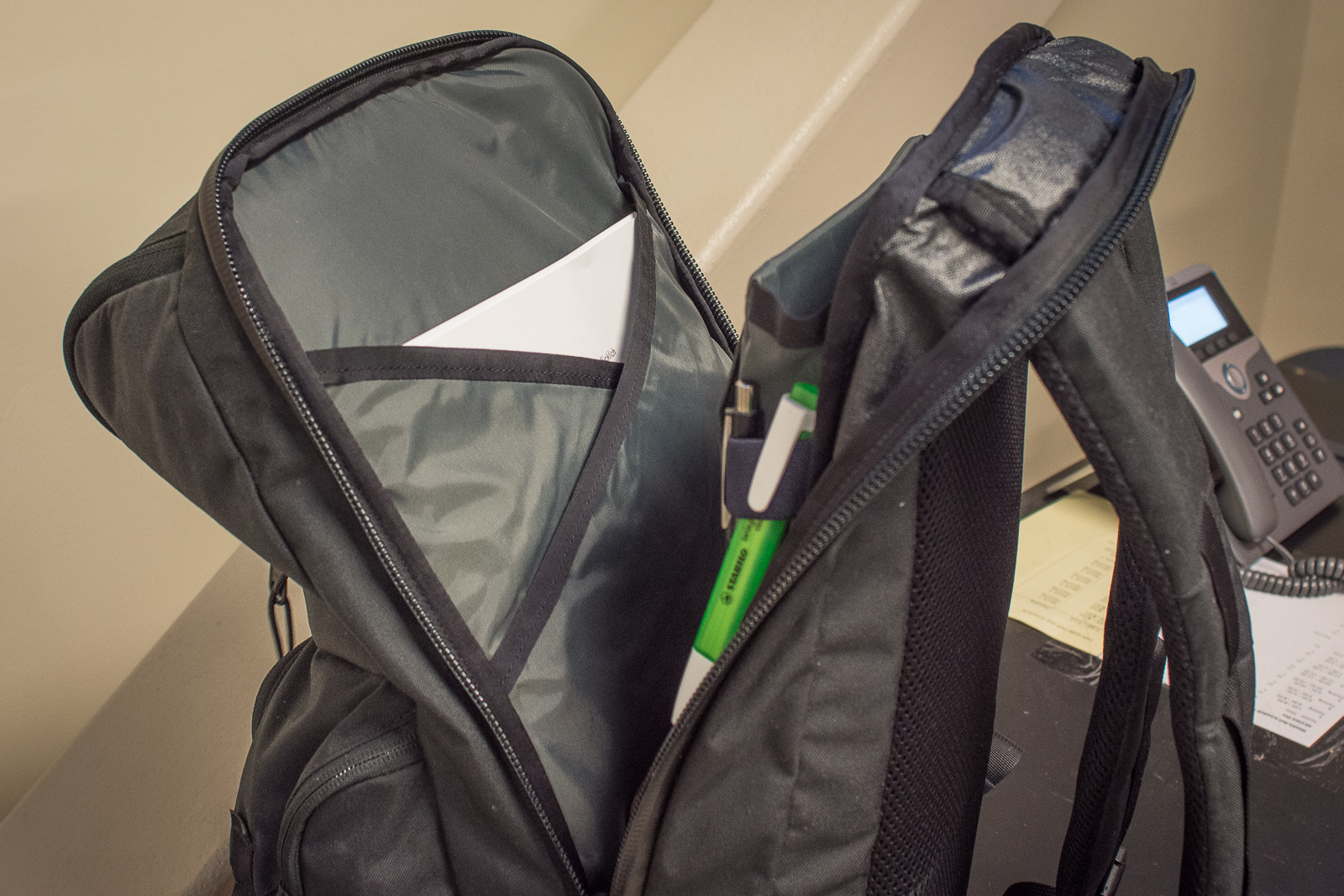 Mystery Ranch Rip Ruck review laptop section files and pens