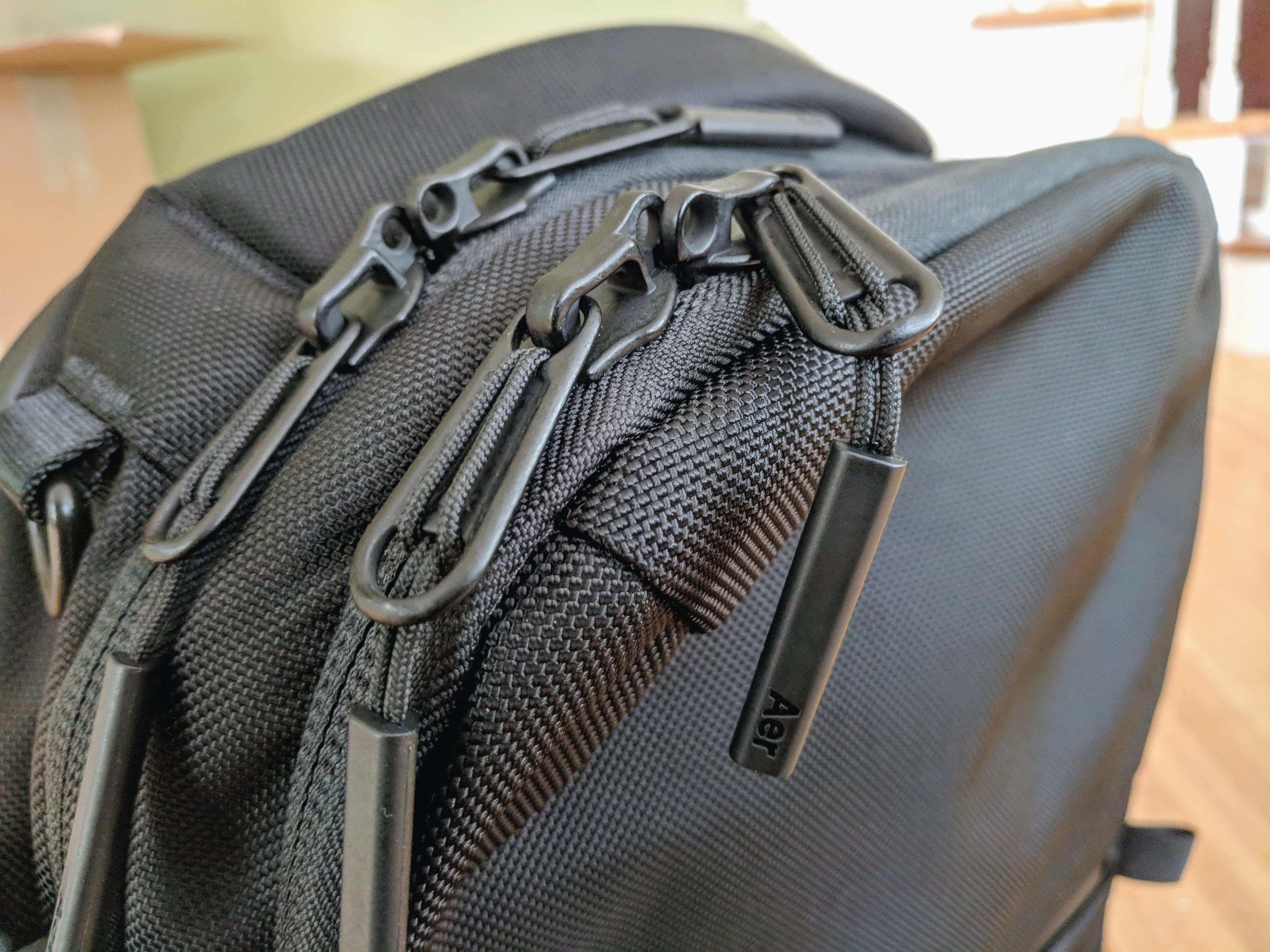Aer Travel Pack 2 backpack review locking YKK zippers detail