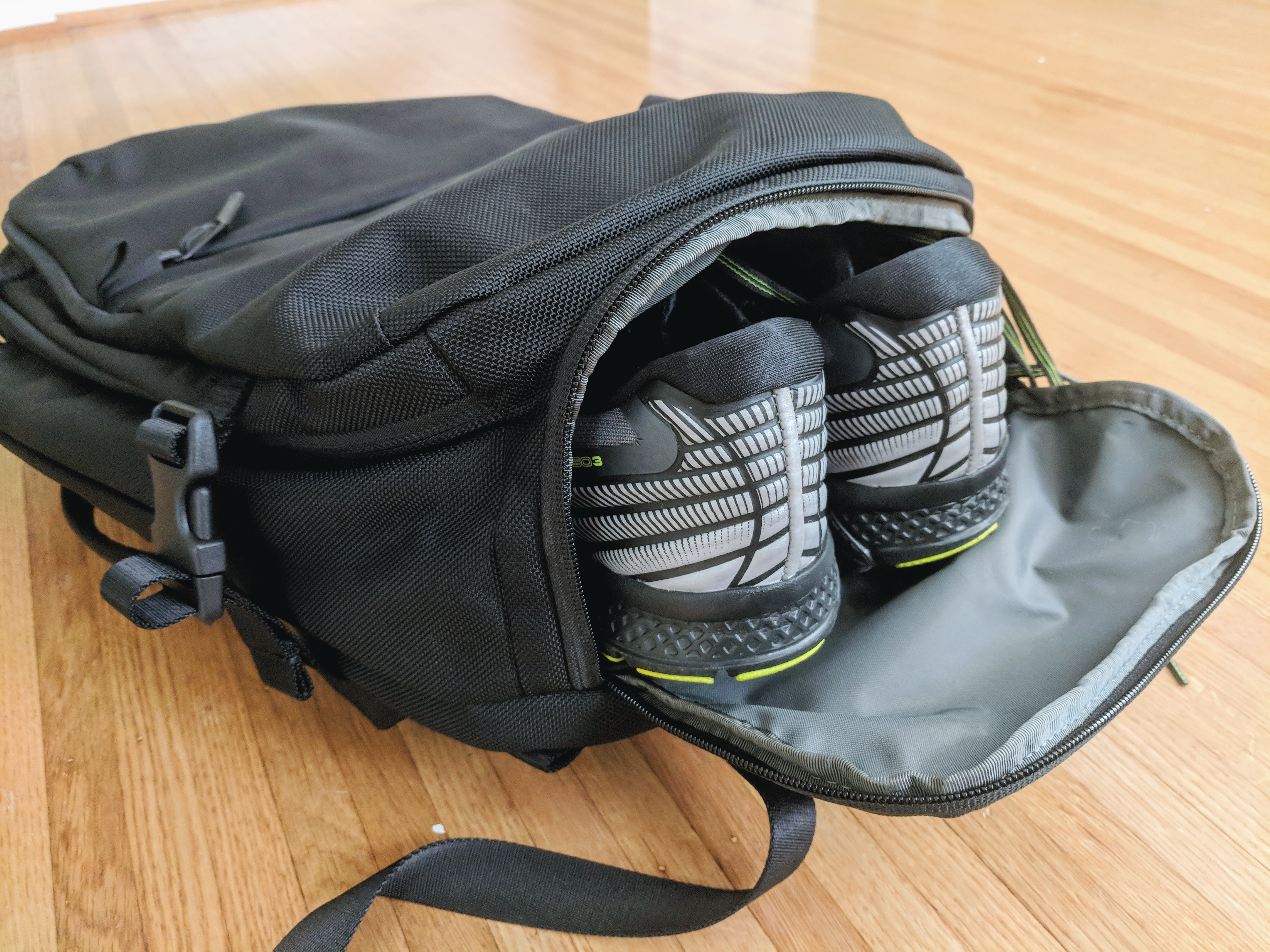 Aer travel pack 2 backpack review shoe compartment open