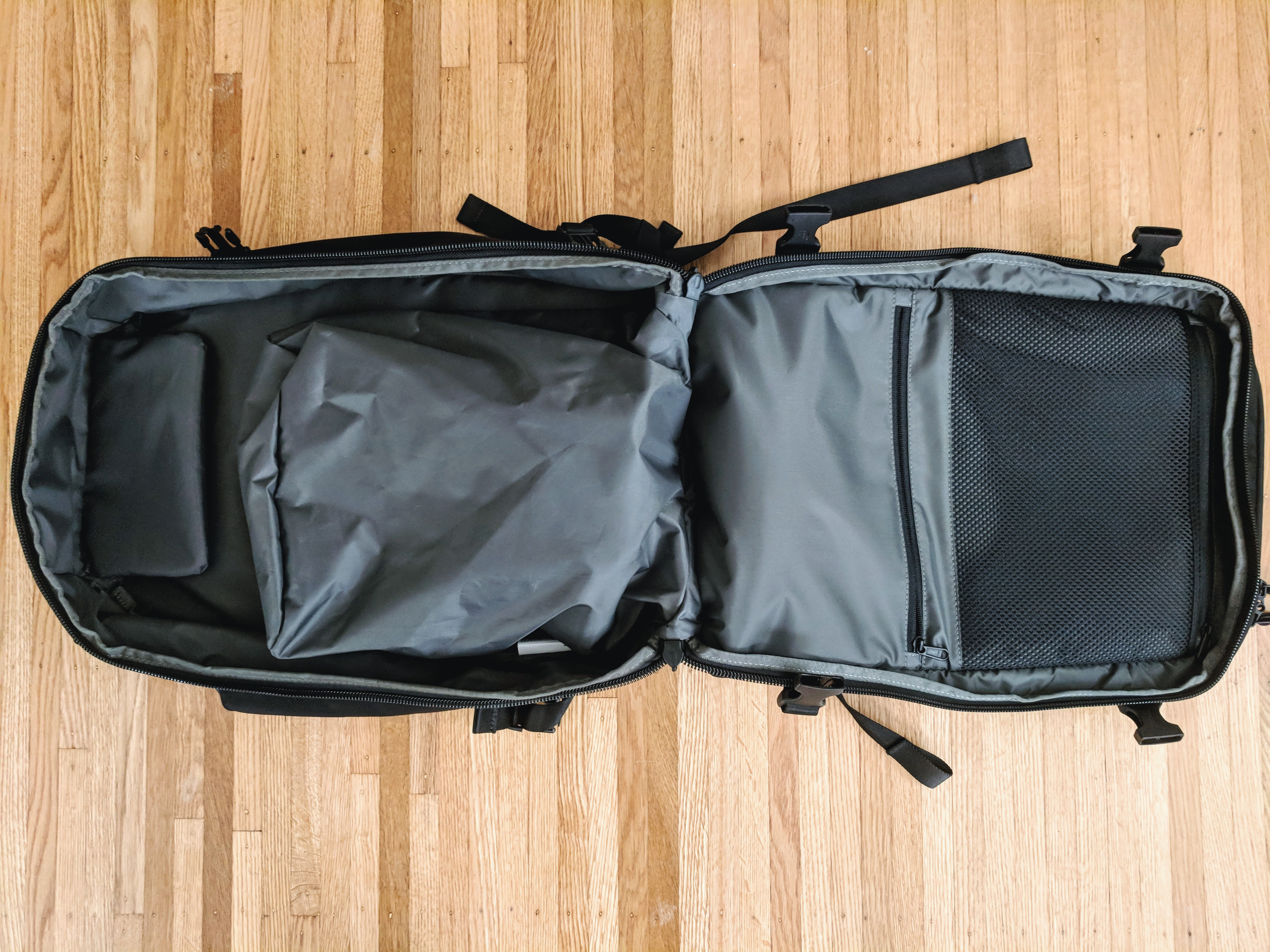Aer Travel Pack 2 backpack clamshell opening interior open zippers shoe compartment interior layout empty