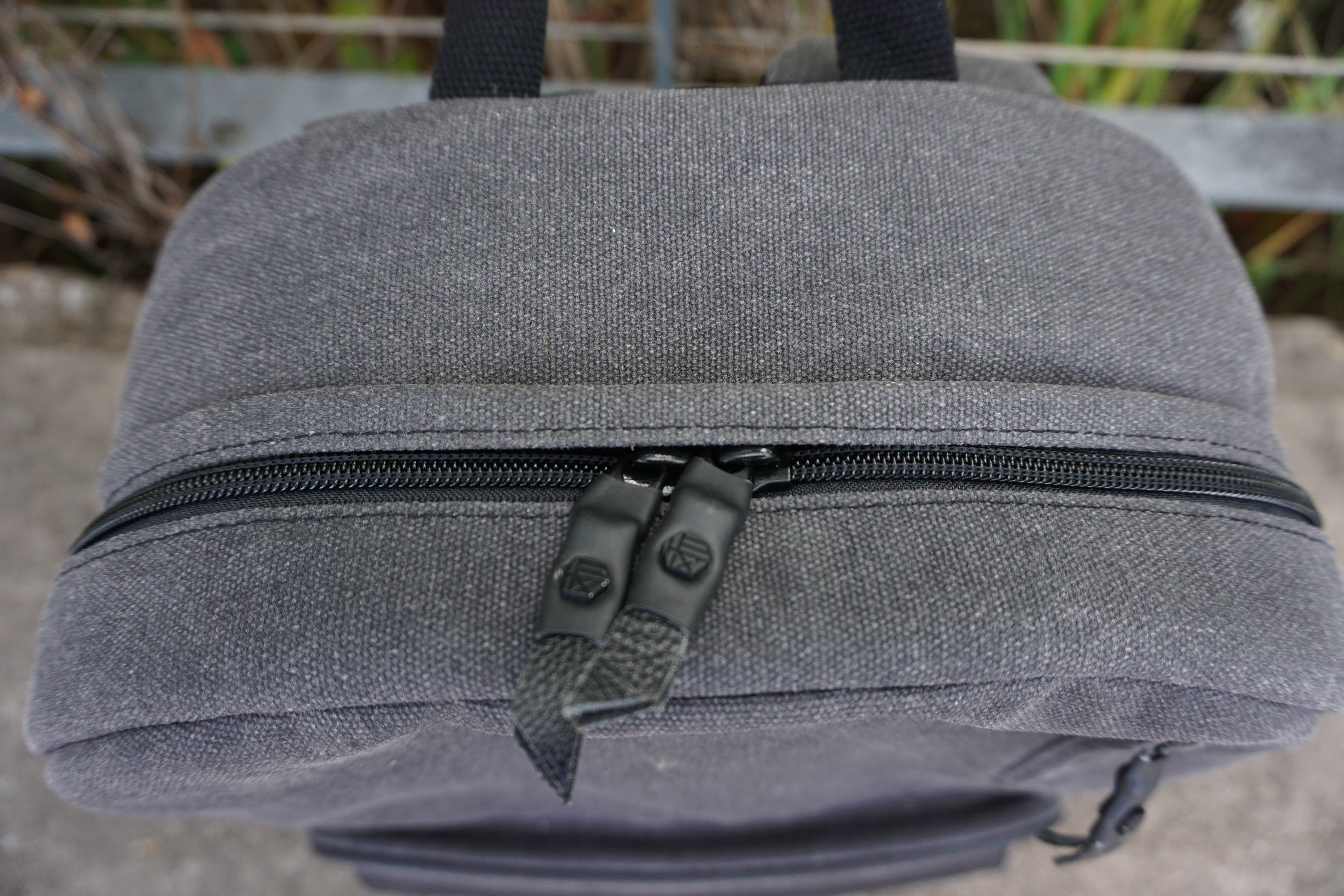 Hex brand supply signal backpack review canvas zippers zip pulls detail top view