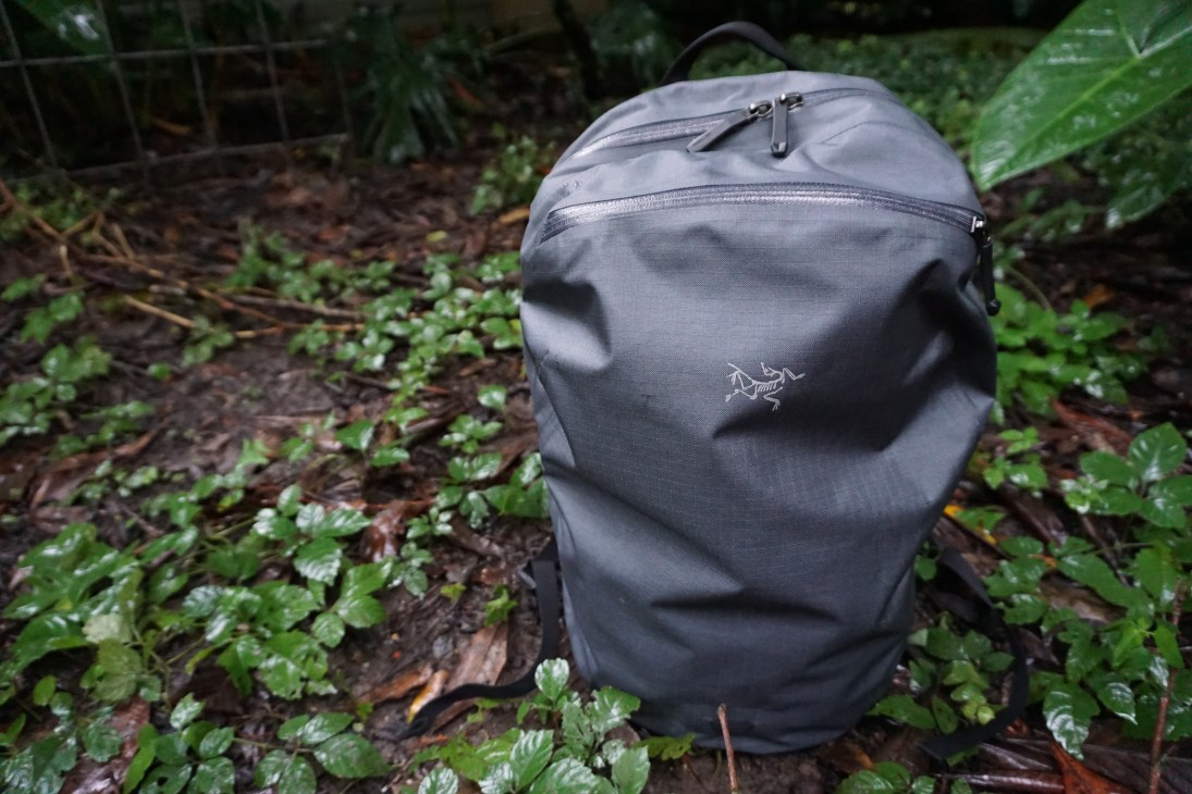 Arcteryx Granville 2 backpack review front view dead bird logo natural light