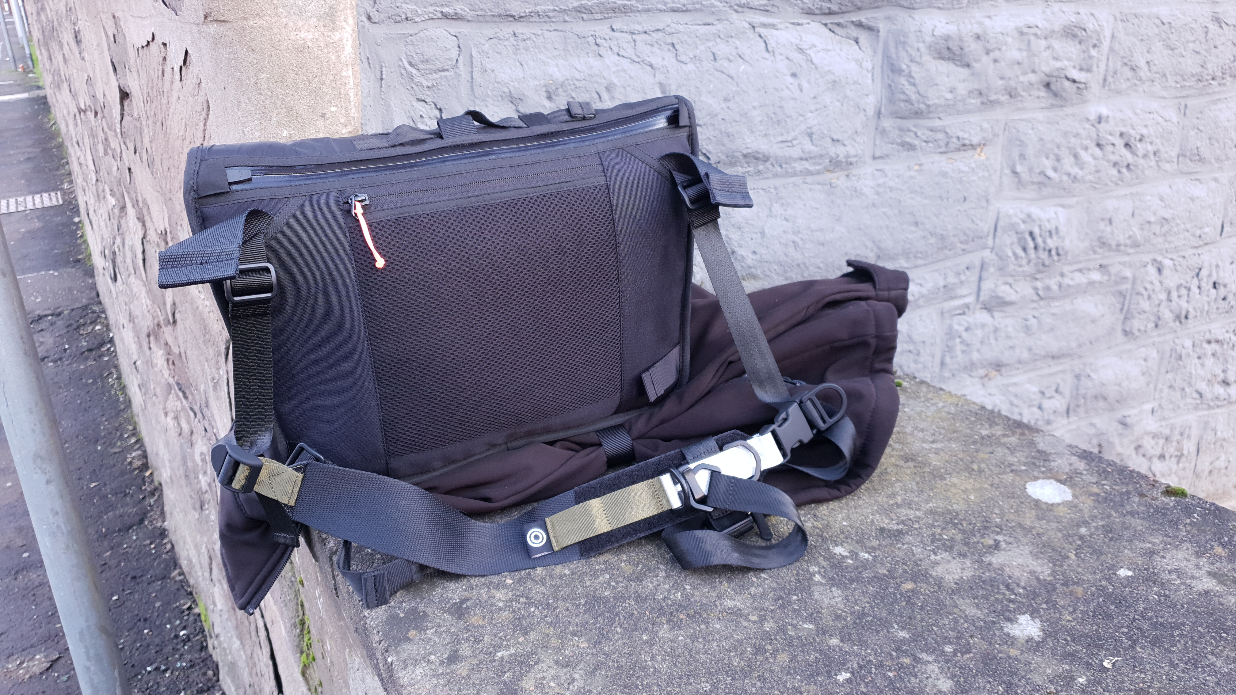 Orbit Gear R221 techwear sling bag review back panel padded overload straps softshell jacket