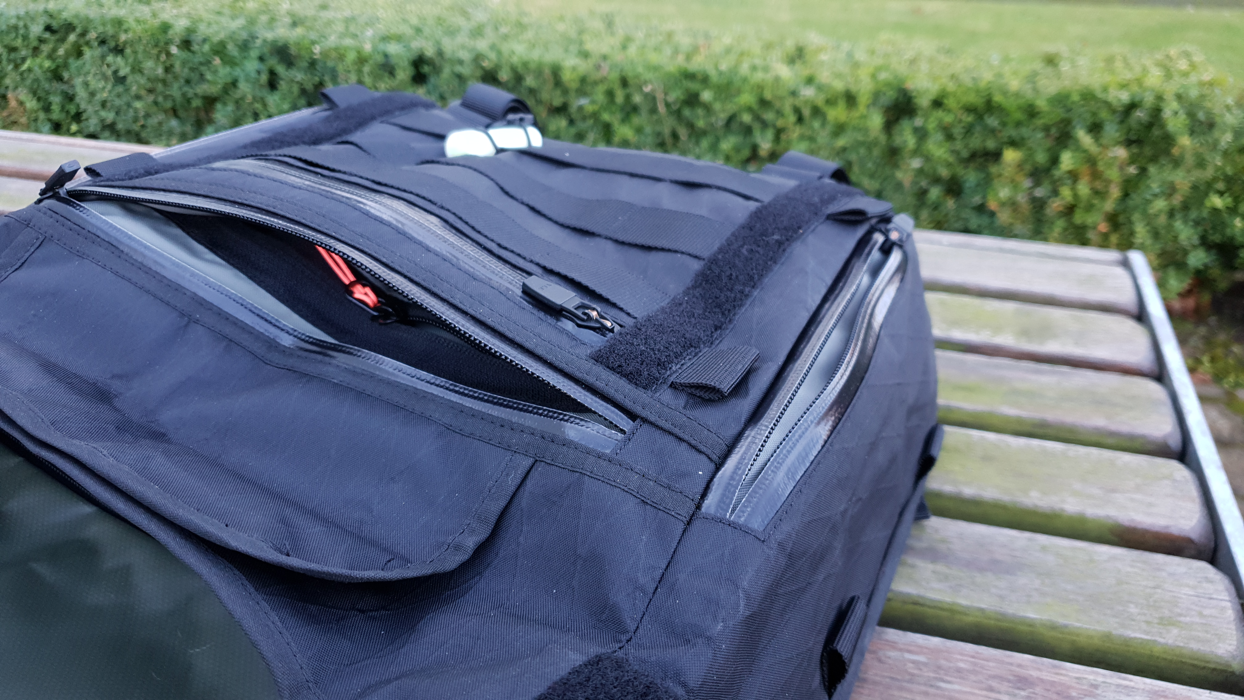 Orbit Gear R221 messenger bag review front pockets organization face panel WR zippers pals webbing